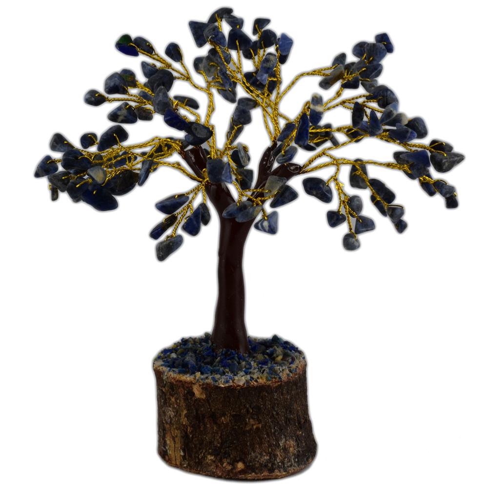 arbre du bonheur 150 pierres gemme sodalite base en bois. Black Bedroom Furniture Sets. Home Design Ideas