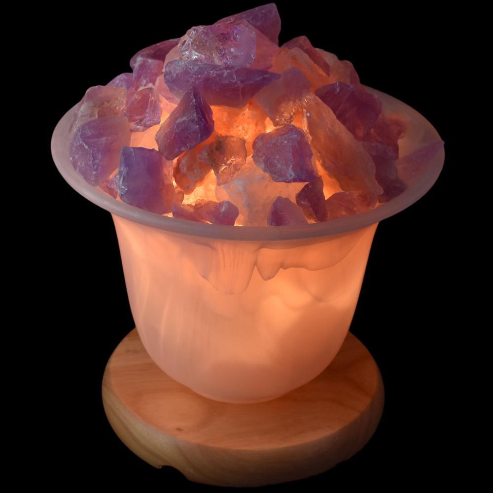 lampe verre avec sel de l 39 himalaya et am thyste. Black Bedroom Furniture Sets. Home Design Ideas
